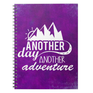 Adventure Quote - Mountains on Purple Background Notebook