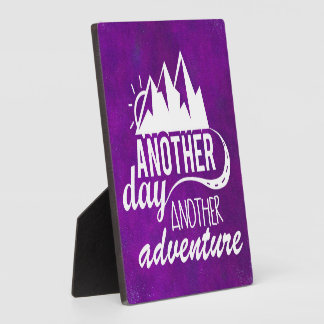Adventure Quote - Mountains on Purple Background Plaque
