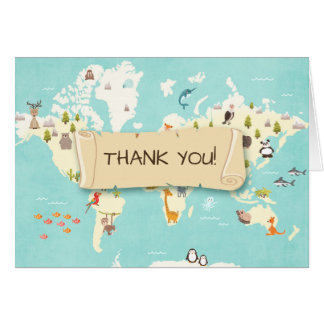 Adventure thank you card World map Travel Baby