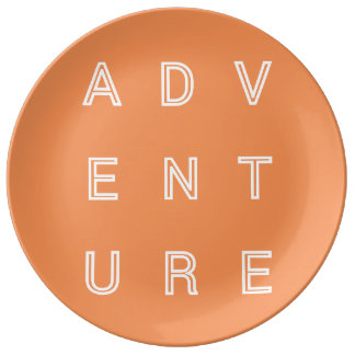 Adventure Travel Plate Modern Typography Porcelain Plate
