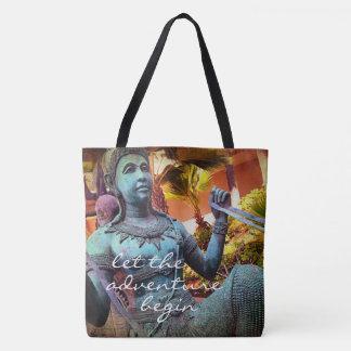 Adventure turquoise warrior statue photo tote bag