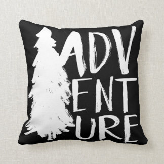 Adventure | White Brush Script style Throw Pillow