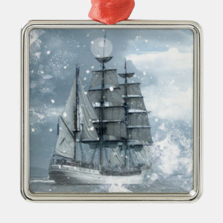 adventure winter snow storm vintage pirate ship metal ornament