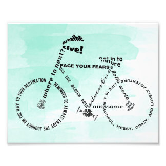 Adventure Word Art Bicycle over watercolor Art Photo