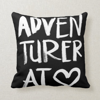 Adventurer At Heart | White Brush Script Style Throw Pillow