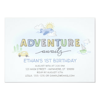 Adventures Awaits Photo Birthday Invitation