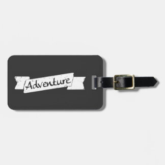 Adventurous Traveler - Grunge Style Banner on Gray Luggage Tag