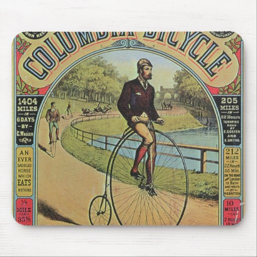 Advert for the Columbia Bicycle Mouse Pads