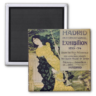 Advertisement for the 'Madrid International Exhibi Square Magnet