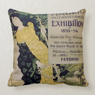 Advertisement for the 'Madrid International Exhibi Throw Pillow