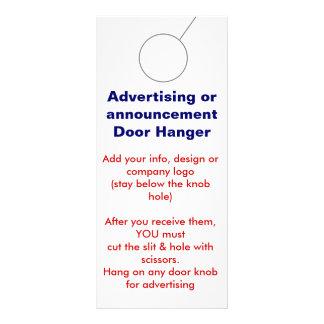 Advertising DOOR HANGER promotion tags Personalised Rack Card