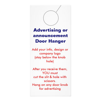 Advertising DOOR HANGER promotion tags Rack Card