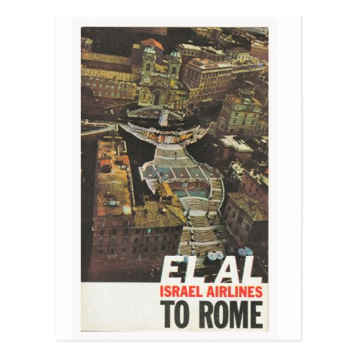 Advertising poster, ElAl to Rome Post Card