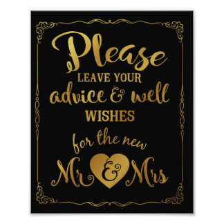 advice and well wishes party wedding sign gold photographic print