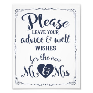 advice and well wishes party wedding sign photo art