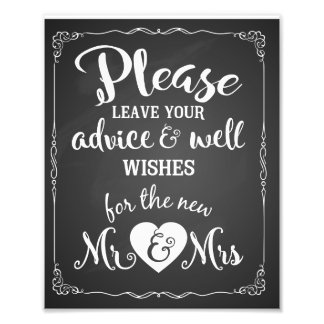 advice and well wishes party wedding sign photo print