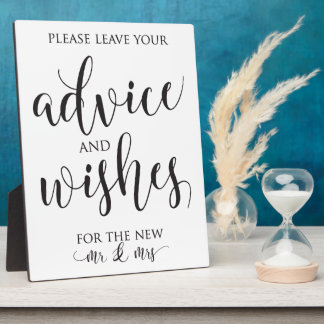 Advice and Well Wishes Wedding Decor Sign Plaque