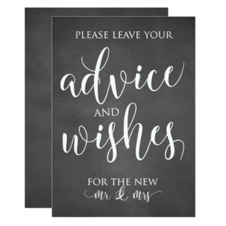 Advice and Wishes Wedding Decor Sign Card