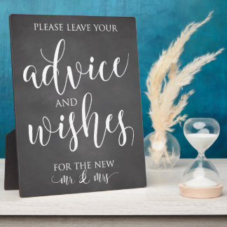 Advice and Wishes Wedding Decor Sign Plaque