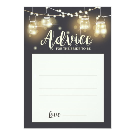 Advice card Bride to be Bridal shower Game Rustic