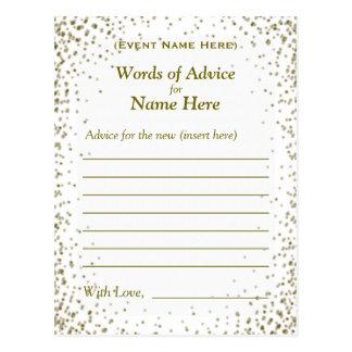 Advice Card   Gold Confetti