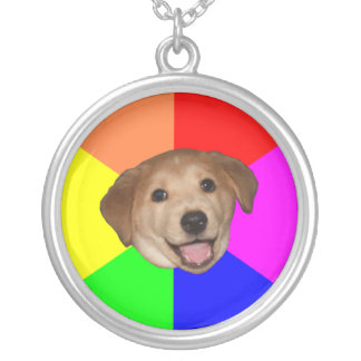 Advice Dog Round Pendant Necklace