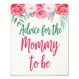 Advice for Mummy Sign, Floral Baby Shower, Floral Photo Print
