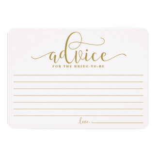 Advice for the Bride | Gold & Pink Calligraphy 13 Cm X 18 Cm Invitation Card