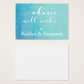 Advice for the Bride & Groom, Teal/Blue Watercolor Business Card