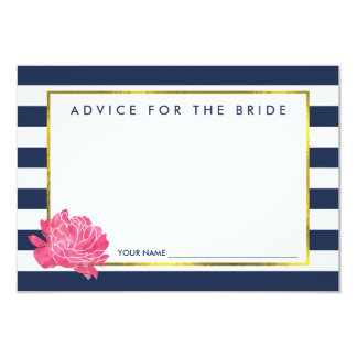 Advice for the Bride | Navy Stripe & Pink Peony 9 Cm X 13 Cm Invitation Card