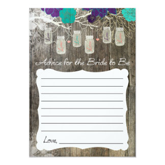 Advice for the Bride, Rustic Mason Jar Floral Card