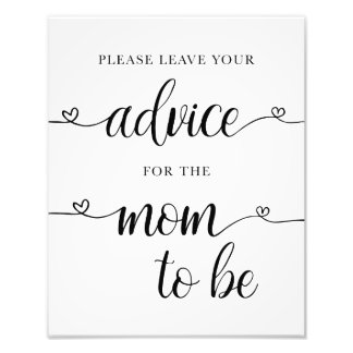 Advice for the Mom to Be Baby Shower Sign Card