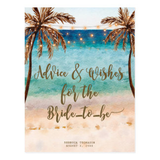 advice & wishes for the bride to be postcards