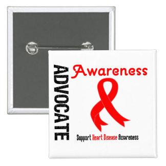 Advocate Awareness - Heart Disease Pinback Buttons