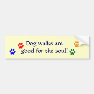 AE- Dog walks paws bumper sticker