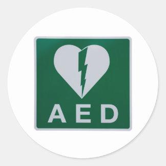 AED Defibrillator symbol Round Sticker