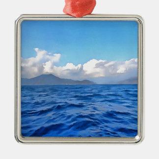 Aegean Blue Metal Ornament