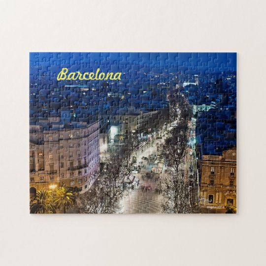 Aereal night view of the Boulevard in Barcelona, S Jigsaw Puzzle