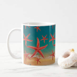 Aerial Beach View with Orange Starfish Coffee Mug