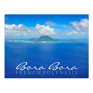 Aerial Bora Bora, French Polynesia text postcard