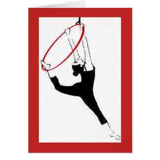 Aerial Hoop Classic Pose in Red & Black Note Card