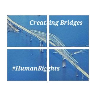 Aerial Inspirational Symbolic Bridge On Blue Water Canvas Print