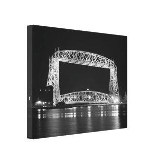 Aerial Lift Bridge in black & white Canvas Print