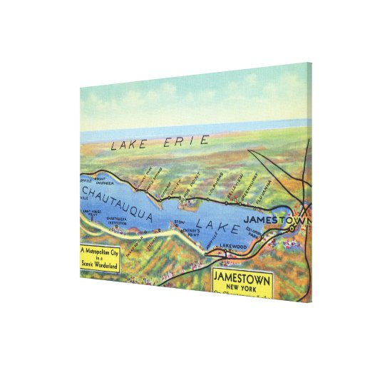 Aerial Map of Lake and Surrounding Towns Stretched Canvas Prints