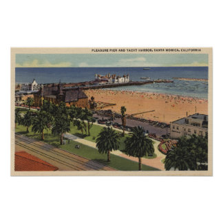 Aerial of Pleasure Pier & Yacht Harbor Poster