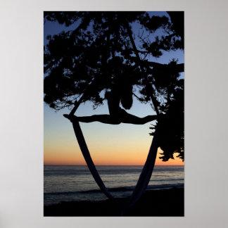 Aerial Silks at Sunset Vertical Poster