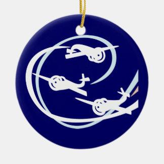 Aerial stunt planes round ceramic decoration
