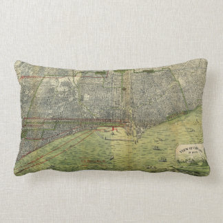 Aerial View Chicago, Illinois by Peter Roy (1893) Lumbar Cushion