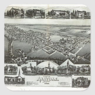 Aerial View of Annville, Pennsylvania (1888) Square Sticker
