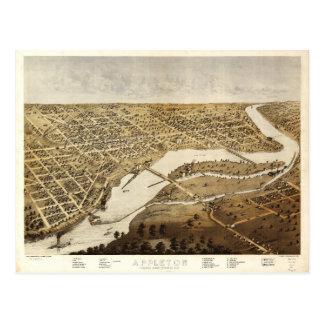 Aerial View of Appleton, Wisconsin (1867) Postcard